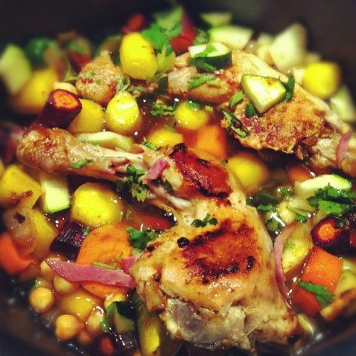 Tajine de poulet, pois chiches, carottes colorées et chorizo - Recette - Marcia Tack