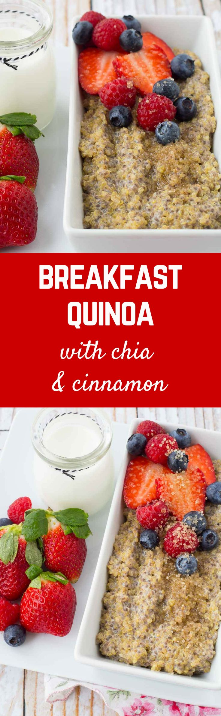Looking for a filling and nutritious breakfast but slightly bored with oatmeal? You'll love this protein-packed breakfast quinoa! Have fun with toppings! Get the healthy breakfast recipe on RachelCooks.com! #sponsored @bobsredmill