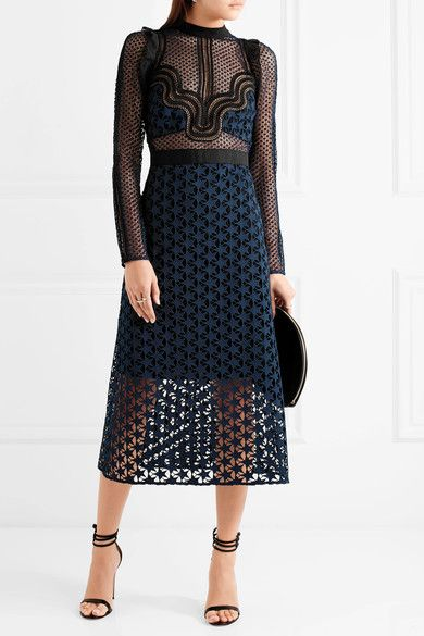Navy and black guipure lace, black georgette Concealed hook and zip fastening at back 100% polyester Hand wash
