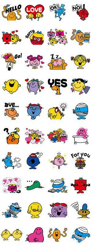 Mr. Men Little Miss stickers for LINE. :D