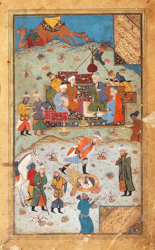 """برگ مصور یوسف و زلیخای جامی. """"بیرون آمدن یوسف از چاه"""" بخارا 1560 میلادی Miniature from a copy of Jami's Yusuf wa Zulaykha. """"Yusuf Pulled from the Well"""" Bukhara; c. 1560 Leaf: 25 × 16 cm"""