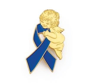 Erb's Palsy Awareness Month March Guardian Angel Blue Ribbon Lapel Pin Tac Birth Injury Awareness; BPI (Brachial Plexus Injury), Erb's Palsy