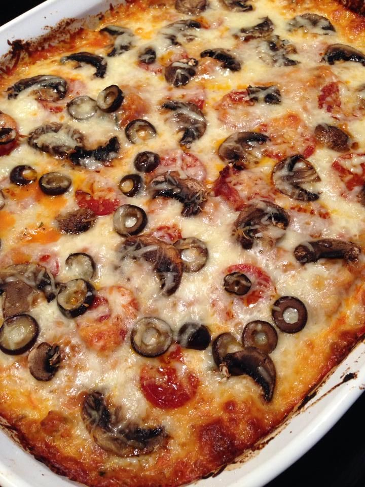 This is a spaghetti squash pizza bake that is one of our absolute favorite primal recipes since we try not to eat real pizza with crust anymore. I follow the basic recipe but put on my choice of toppings.