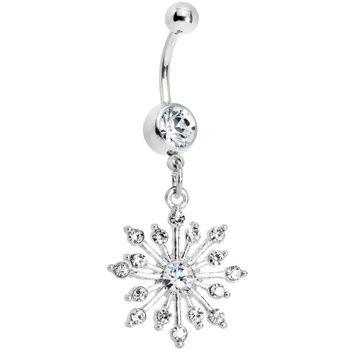 """""""Pretty flower belly piercing"""" Definitely looks like a snow flake."""