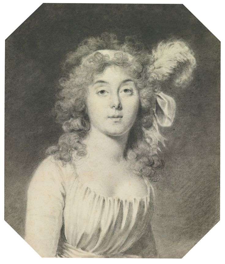 Jacques Antoine Marie Lemoine ROUEN 1751 - 1824 PARIS PORTRAIT OF A YOUNG WOMAN, WITH A RIBBON AND AN OSTRICH FEATHER IN HER HAIR Black and white chalk and stumping and gray wash; signed and dated lower right in pencil: Lemoine Del./1796 250 by 211 mm 9 13/16  by 8 5/16 in.