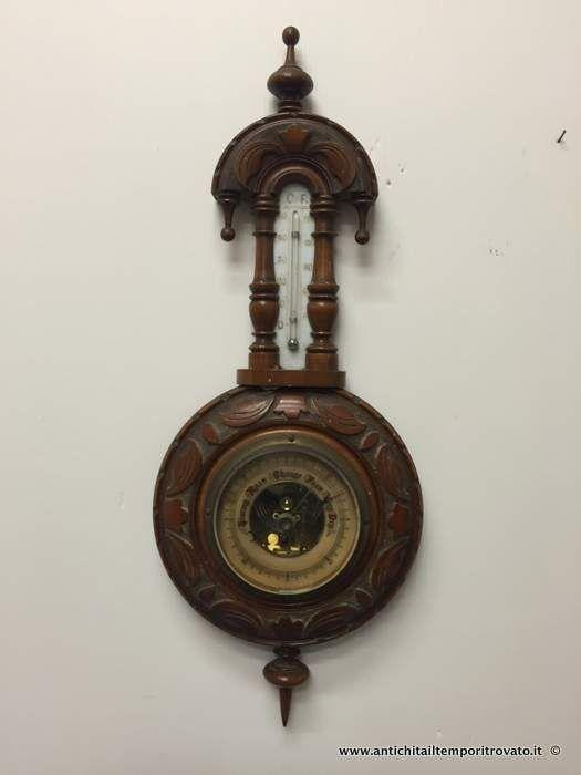 Oggettistica d`epoca - Strumenti scientifici Antico barometro con termometro - Barometro con termometro inglese Immagine n°1