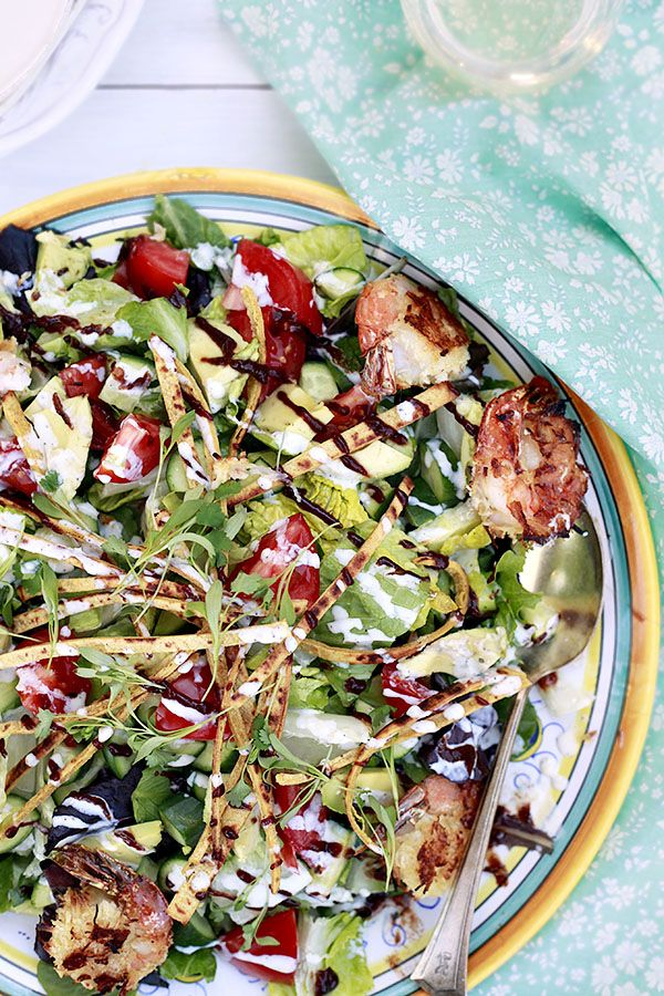 Baked Coconut Shrimp BBQ Salad  Low-fat, 20-minute dinner
