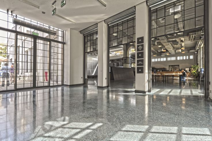 The theatre hall and the design concrete floor Terrafloor by Bautech in Nowy Teatr in Warsaw.