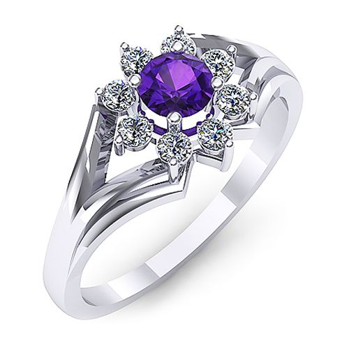 Inel de logodna din aur alb, cu un ametist rotund si diamante