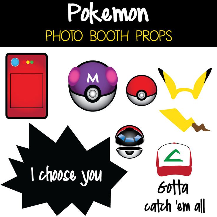 8 Pokemon Photo Booth Props Instant Download Printable Sign Photo Booth Prop Set Sale By