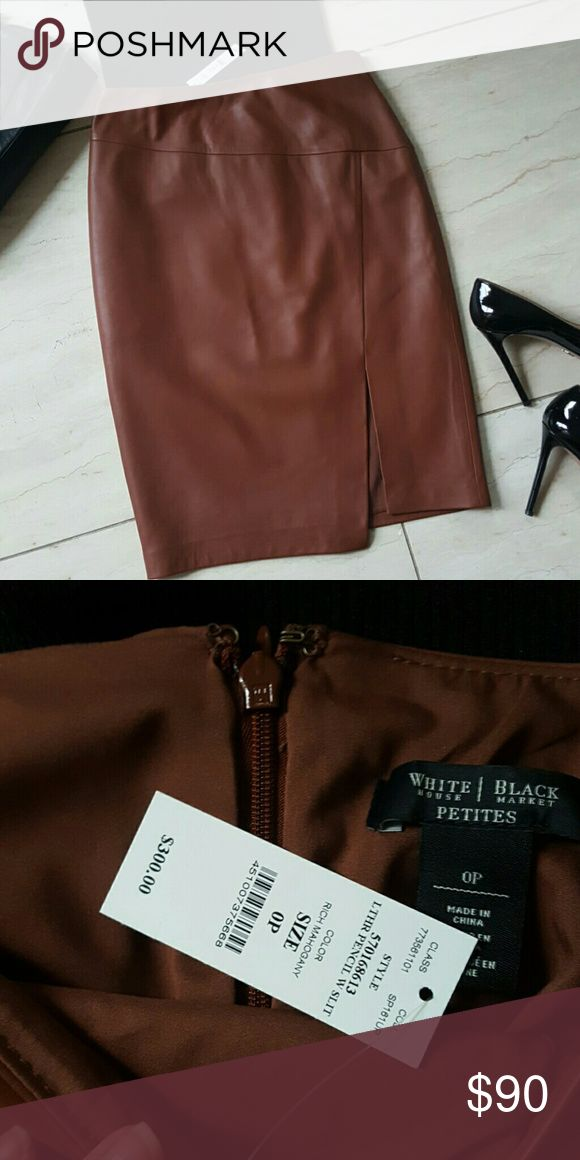 Leather Skirt Gorgeous Color New WHBM beautiful leather  for all season wear! White House Black Market Skirts Pencil