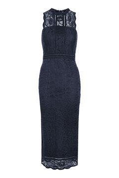 Scallop Mix Lace Midi Dress