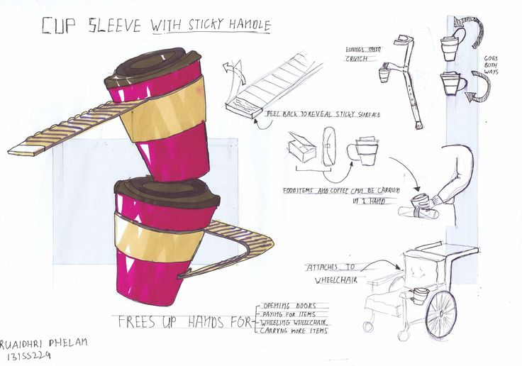 coffee cup sleeve redesign for wheelchair and other item carrying capabilities. #ID #Product #design #rendering #sketches #industrialdesign #coffee #cup #drawings #concept