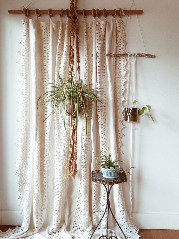 Vintage Homespun Linen And Cotton Crochet Window Panel Coverlet Textile Curtain Room Divider