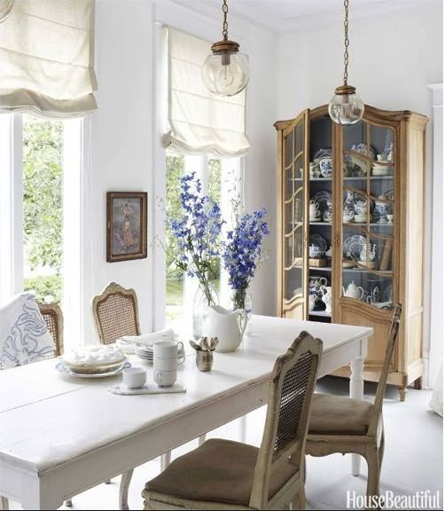 Beautiful Homes Decorating Ideas: Flat, White Linen Roman Shades In Dining Room. Ask Budget