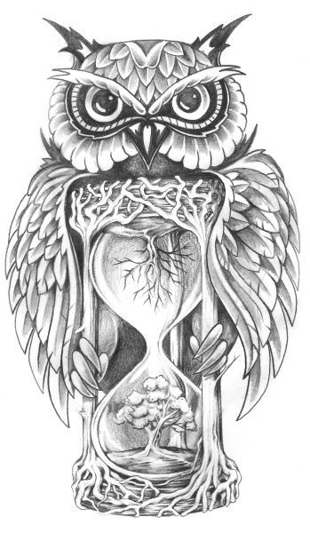 Owl Tree Hourglass Sketch                                                                                                                                                                                 Más