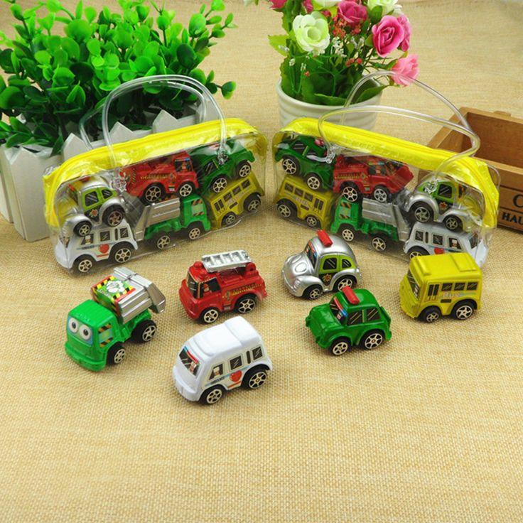 6ピース/バッグ子供車のおもちゃマルチカラーミニ車輪モデルミニチュア車玩具プルバックバストラック子供toys用子供男の子贈り物