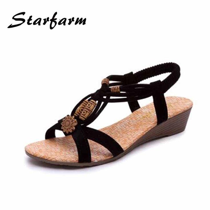 Summer Shoes Women Sandals Peep Toe Platform Shoes Beach Flip Flops Sweet Low  Wedges PU Ladies
