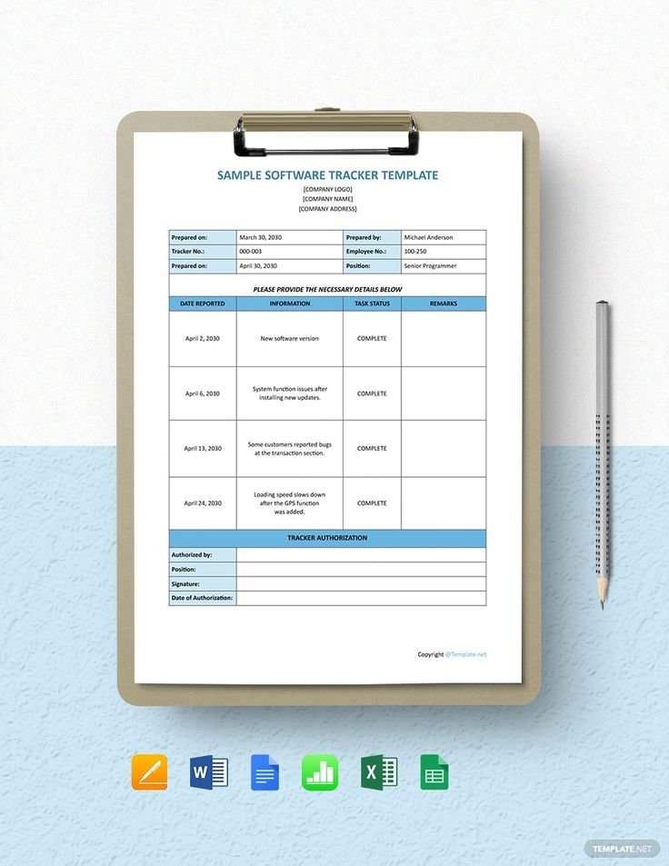 Free Sample Software Tracker Template in 2020 Software