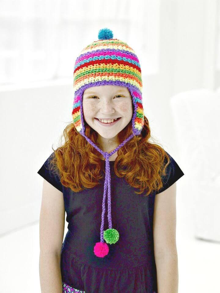 Easy Free Crochet Colorful Ear-flap Hat Pattern | Stricken