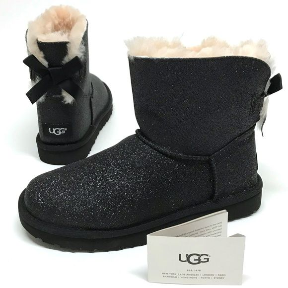 9b4f7fd9168 UGG Mini Bailey BOW SPARKLE Shearling Boots 8 NIB NEW IN BOX Color ...