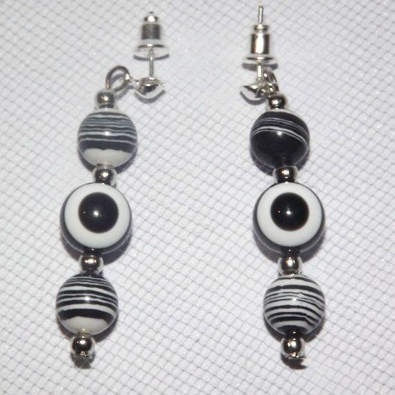 Zebra Agate Evil Eye Earrings  Black   Free UK by KasumiCrafts