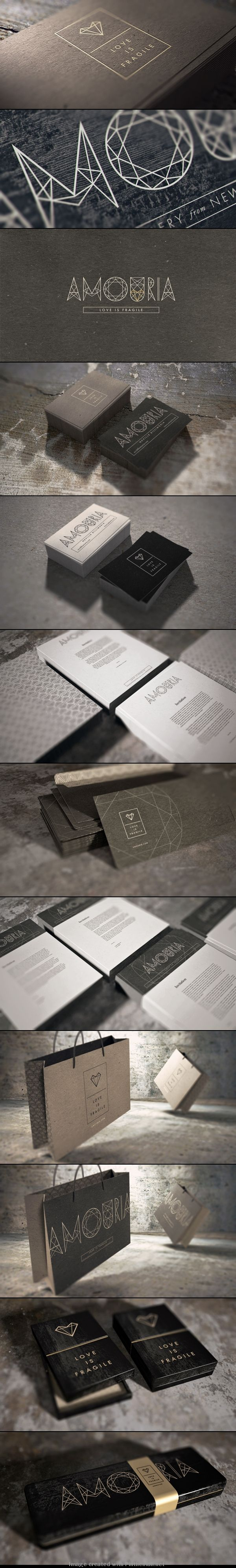 Amouria Jewelry branding, stationary and packaging design via Behance.