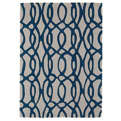 Debenhams Blue And Grey Wool Wire Rug At
