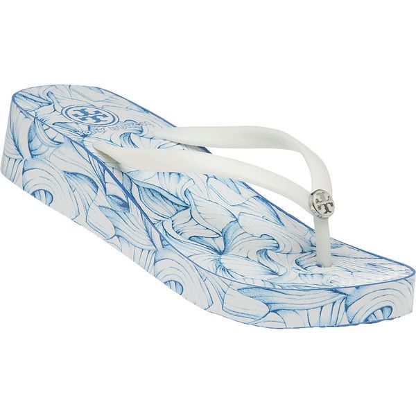 TORY BURCH Thandie White Elora Wedge Flip Flop ($65) ❤ liked on Polyvore featuring shoes, sandals, flip flops, white, wedge heel sandals, wedges shoes, summer wedge sandals, summer flip flops and summer sandals