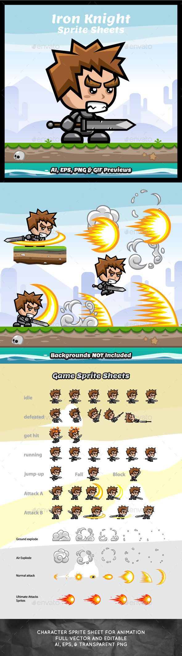 Iron Knight Game Character Sprite Sheets — Vector EPS #game character #soldier • Download here → https://graphicriver.net/item/iron-knight-game-character-sprite-sheets/9276313?ref=pxcr