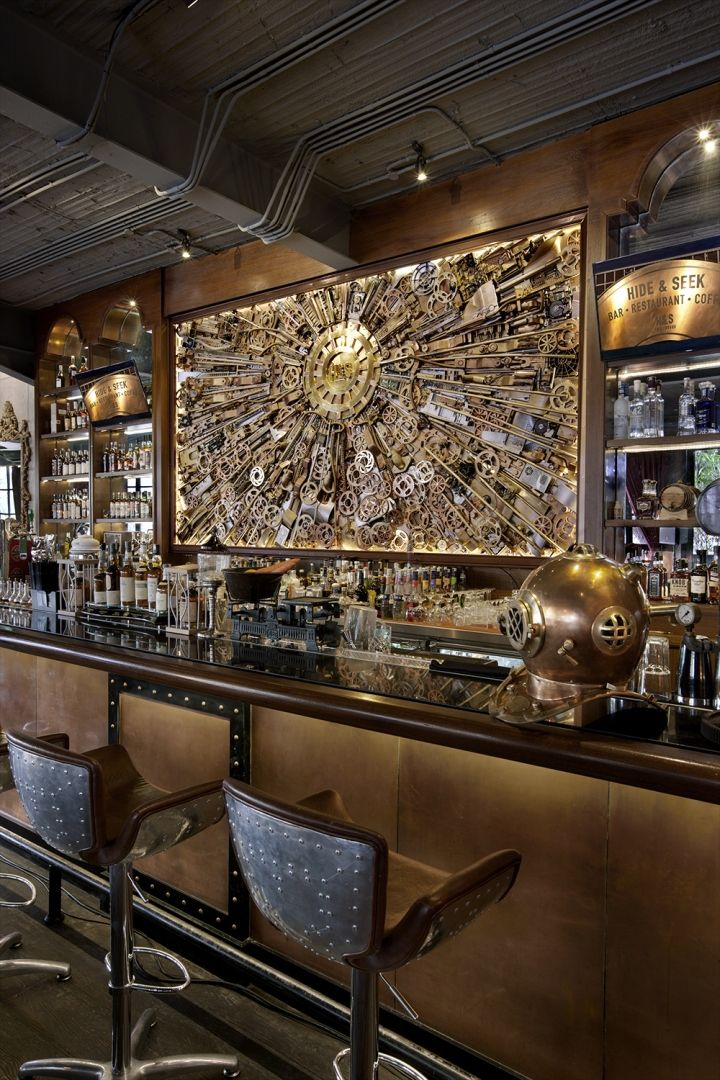 Inspired by the steam-punk aesthetics, this restaurant and bar incorporated gizmos, machineries, and piping to take its patrons to a Victorian bygone era.