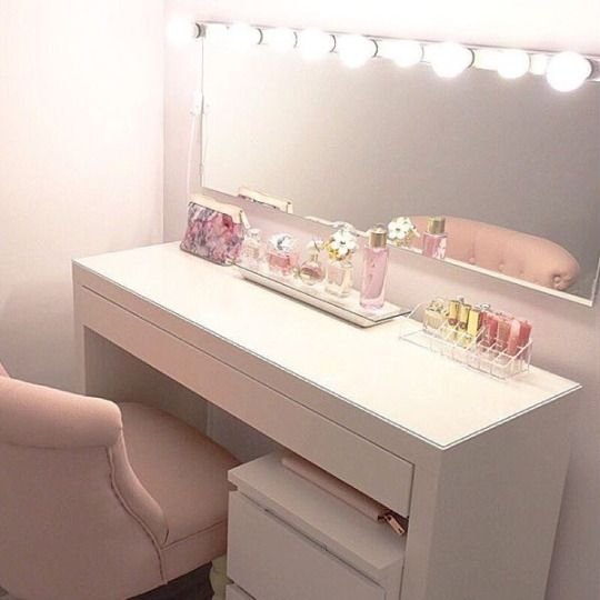 I like this vanity but with a close up mirror on the side and only one big drawer, and a different chair colour