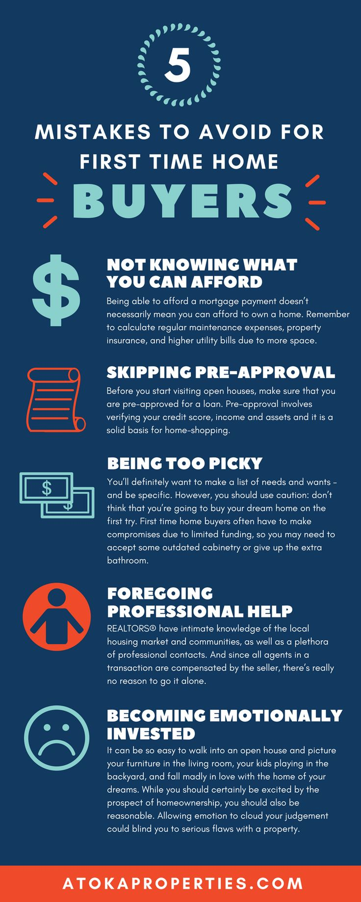 Buying a home can be both exhilarating and terrifying. Make sure to avoid these First Time Home Buyer pitfalls. | atokaproperties.com