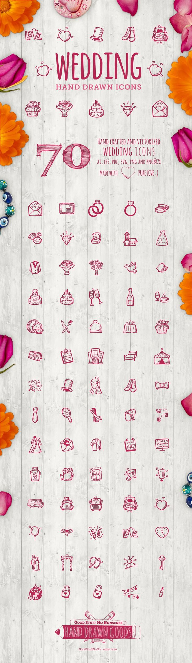 70 Hand Drawn Vector Icons. This set will be perfect for wedding invitations, wedding blogs as well as wedding planner business …