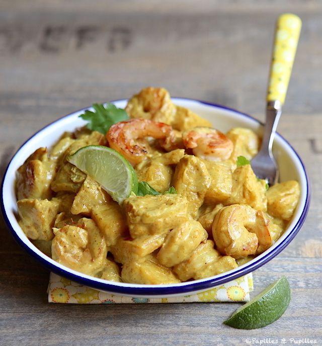 Crevettes à l'ananas et au curry