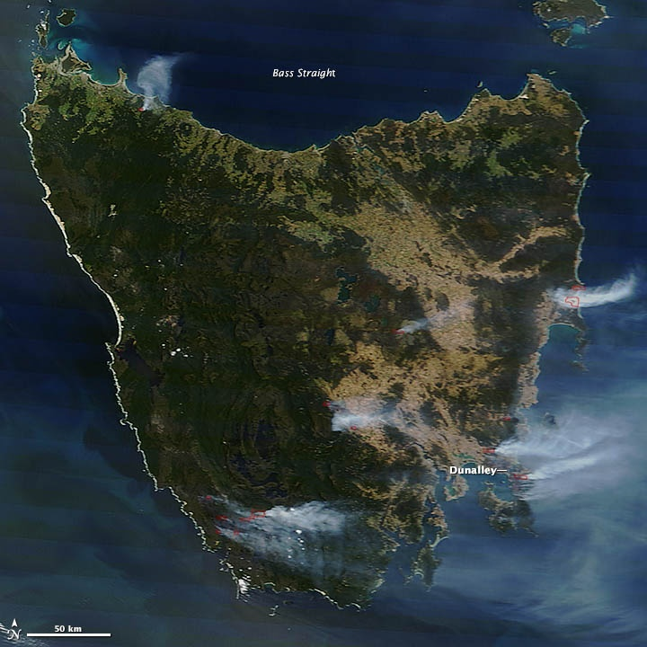 Since the end of December 2012, hundreds of bushfires have raged throughout Australia, fueled by a record-breaking heatwave. Some of the most damaging fires struck Tasmania, a large island off the coast of Victoria. Blazes that raced through the town of Dunalley on January 4 destroyed more than 100 homes.