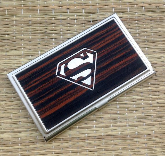 Hey, I found this really awesome Etsy listing at https://www.etsy.com/listing/231157680/superman-wood-business-card-case-idcard