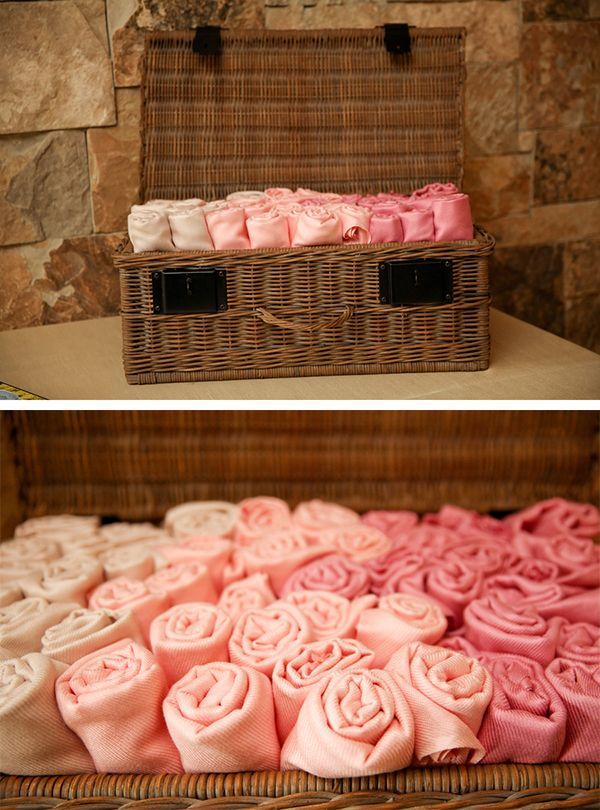 Pink ombre pashmina wedding favors   Winter and fall wedding ideas (Pepper Nix Photography)