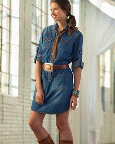 Ryan Michael Womens Denim Shirt Dress , Indigo