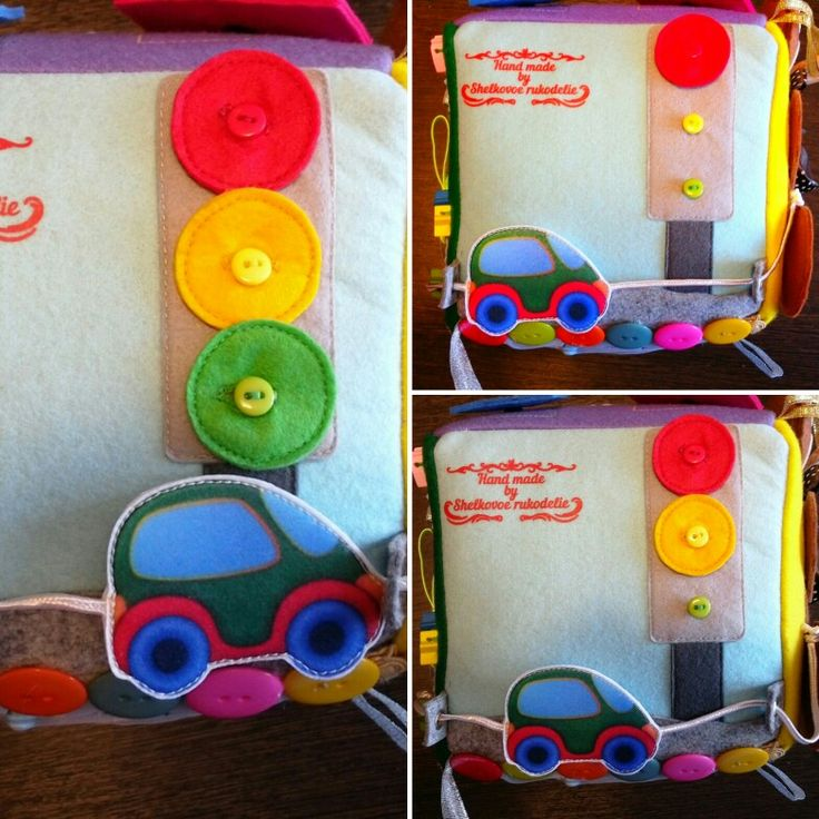 """""""Светофор"""" - учим с малышом основное правило дорожного движения: """"На красный - стой, на жёлтый - будь готов, на зеленый - иди!"""". В данном случае, стоит и едет машинка, которая напечатана на фетре. Кроме этого, малыш в будущем будет учиться застегивать/растегивать пуговицы.  #светофор #пуговицы #мелкаямоторика #развитиеребенка #развивающийкубик #развивающаяигра #футбол #лабиринт #пальчиковаягимнастика #фетр #игрушкиизфетра"""