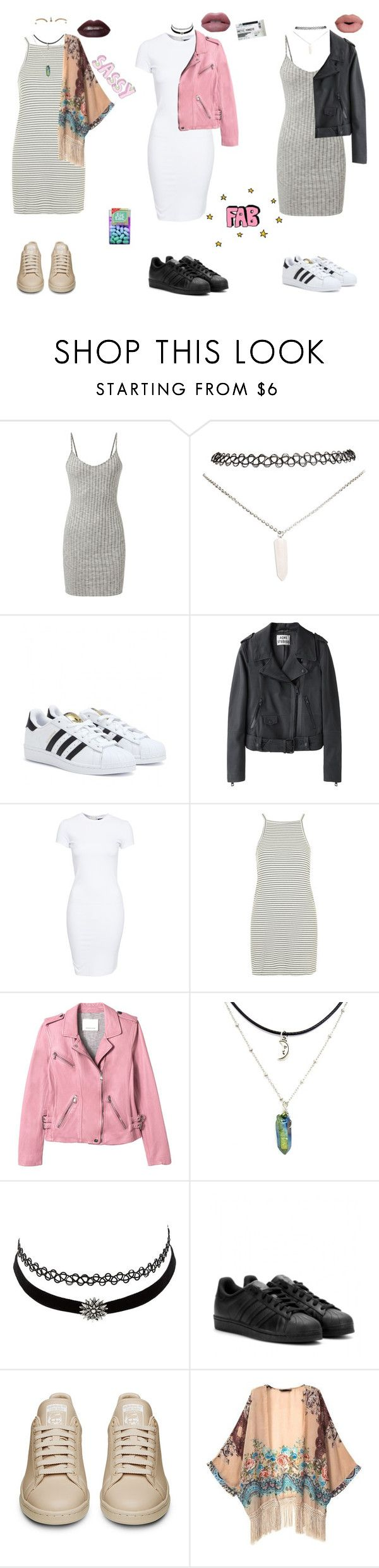 """How I Style Adidas Shoes"" by stellaluna899 ❤ liked on Polyvore featuring Wet Seal, adidas, Sephora Collection, Acne Studios, SELECTED, Topshop, Rebecca Taylor, Charlotte Russe, Retrò and dress"