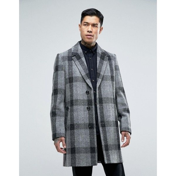 ASOS Harris Tweed Overcoat In Grey Check ($175) ❤ liked on Polyvore featuring men's fashion, men's clothing, men's outerwear, men's coats, grey, tall mens coats, mens fur collar coat, asos mens coats, mens gray pea coat and mens harris tweed sport coat