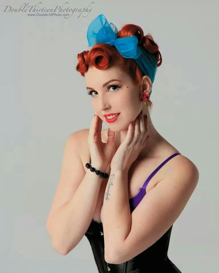 Pinup hair love the red hair with the blue headband vintage pinup hair love the red hair with the blue headband vintage hair make up pinterest red hair rockabilly and vintage hair urmus Gallery