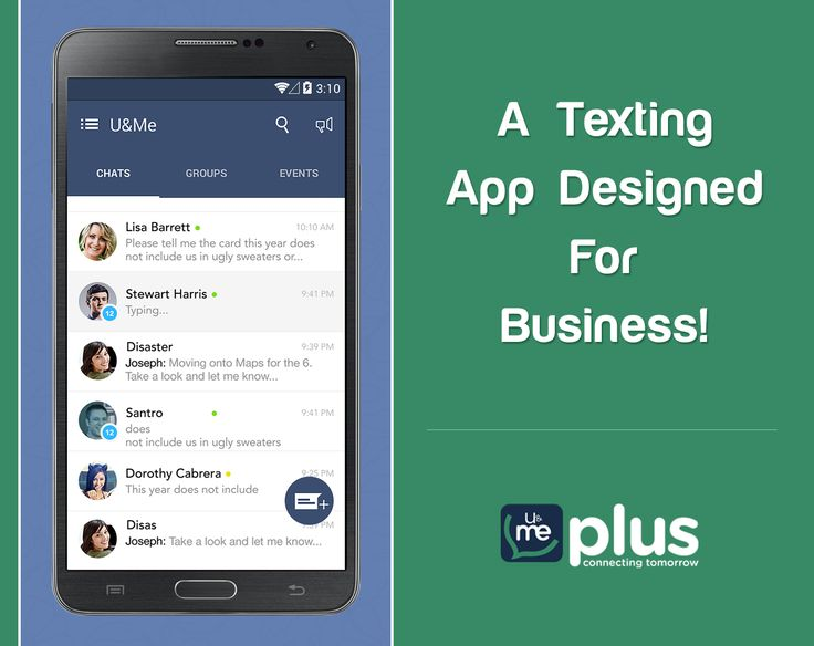 U&Me Plus is an enterprise mobile messenger. Send texts to your coworkers & get instant response!