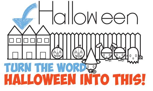How to Draw Halloween Trick or Treating Scene from the Word (Word Toons Easy Drawing Tutorial for Kids)