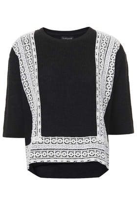 Lace Panel Knitted Top