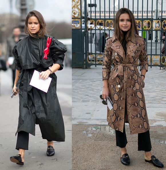 Miroslava Duma wearing a pair of Gucci Princetown black leather slippers (featuring no fur)