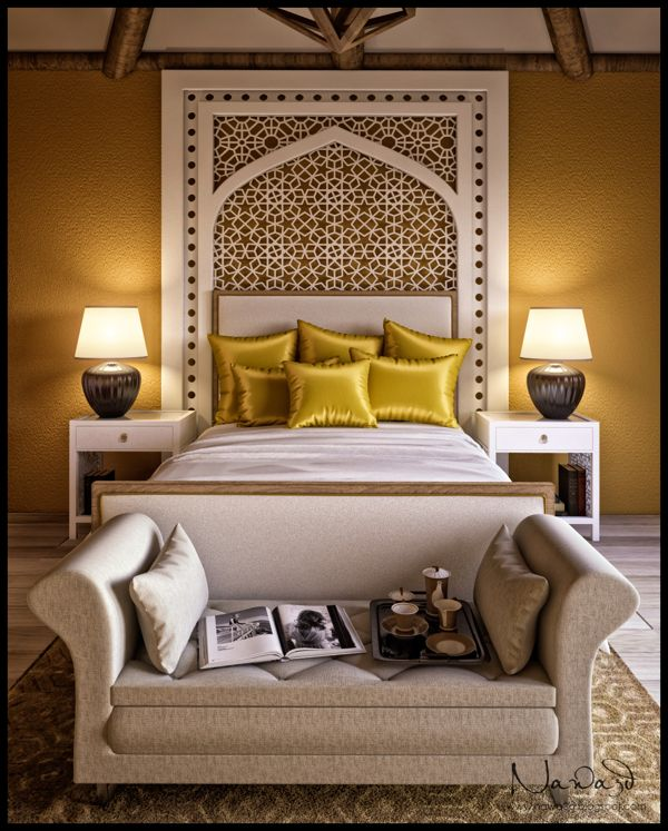 Interior Render Of A Bedroom With Modern Mediteranian Touch