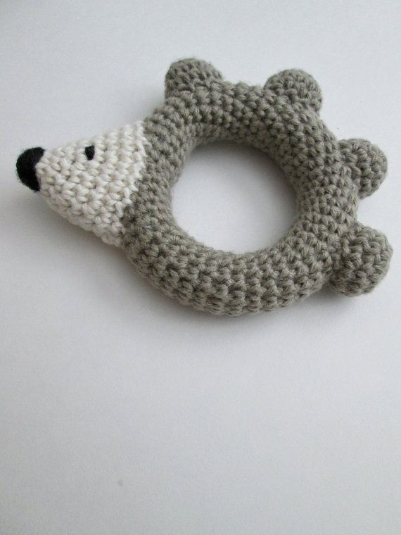 Crocheted Hedgehog Rattle Baby Toy Cotton by AnnaMadeYours on Etsy