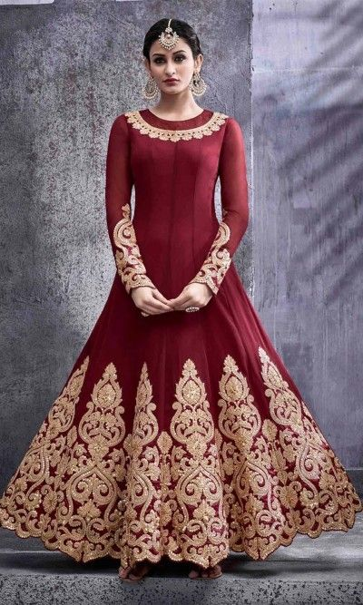 Embroidered Maroon Frock Suit-